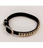 Collar with rhinestones black for dogs and cats S