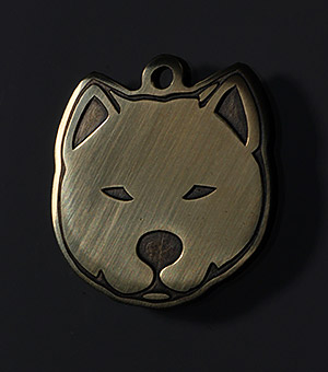 Tag for dog of breed Akita inu