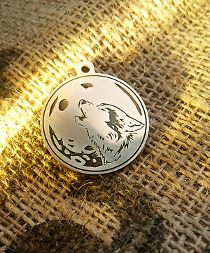 """Tag for dog """"Wolf and moon"""""""