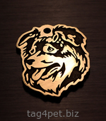 Dog tag with the image of the breed Australian shepherd