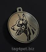 Жетон для собаки с изображением Добермана