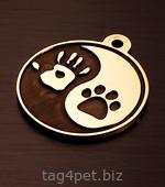 Брелок для собаки Инь и ян