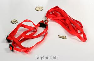 Шлейка для кота красного цвета