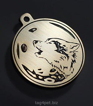 "Tag for dog ""Wolf and moon"""