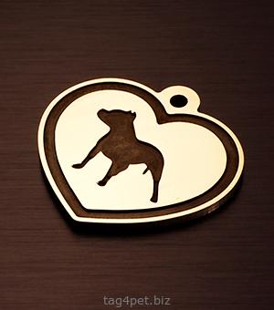 "Адресник для собаки ""Сердце и буль"""