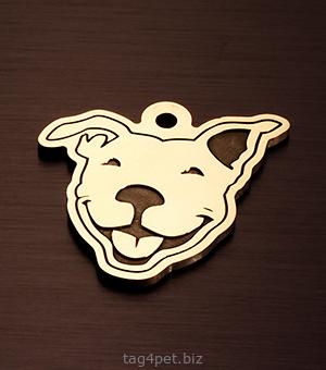 """Адресник для собаки с гравировкой """"Веселый Питбультерьер"""""""